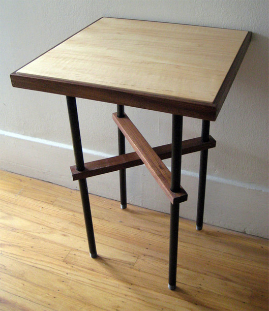 Maple, Walnut, and Steel Pipe Side Table