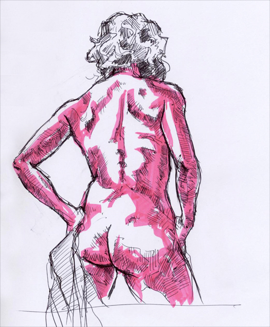 Figure Study -- Ink & Highlighter 1