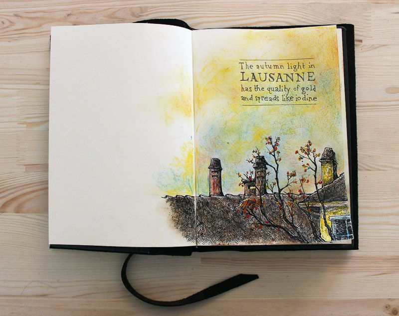"Switzerland sketchbook -- ""Autumn Light in Lausanne"""