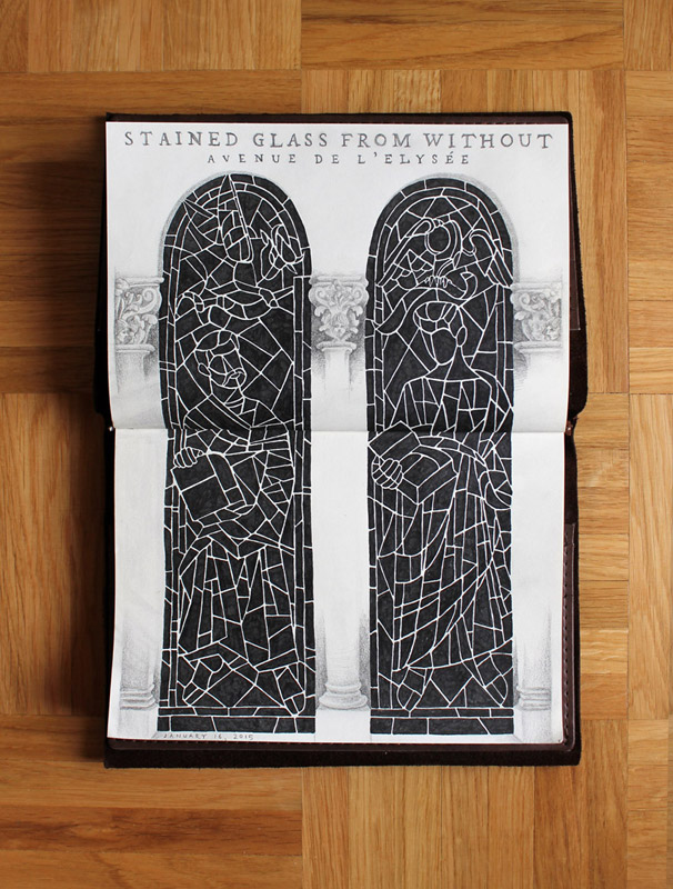 "Switzerland sketchbook -- ""Stained Glass from Without"""