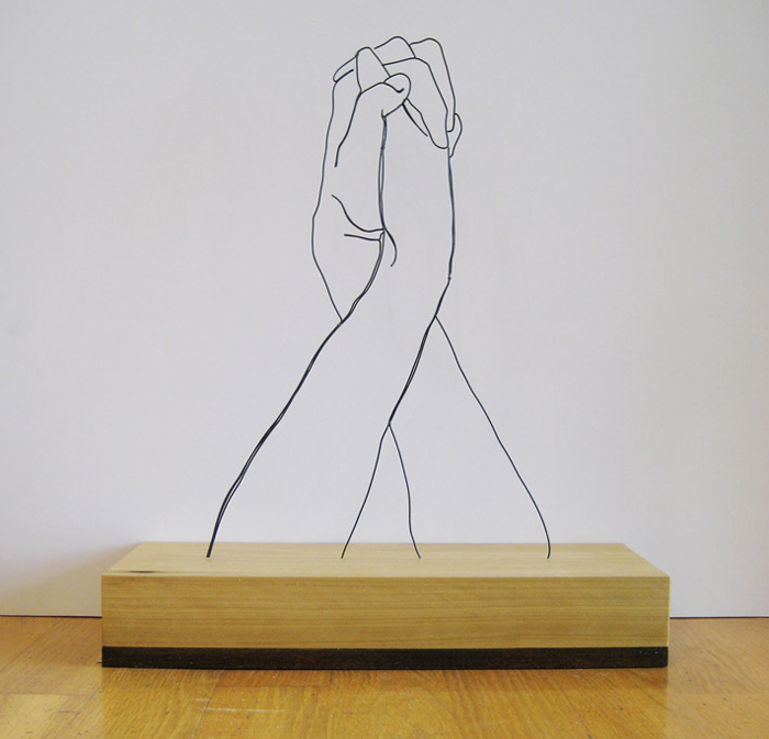 Hands Clasped wire sculpture